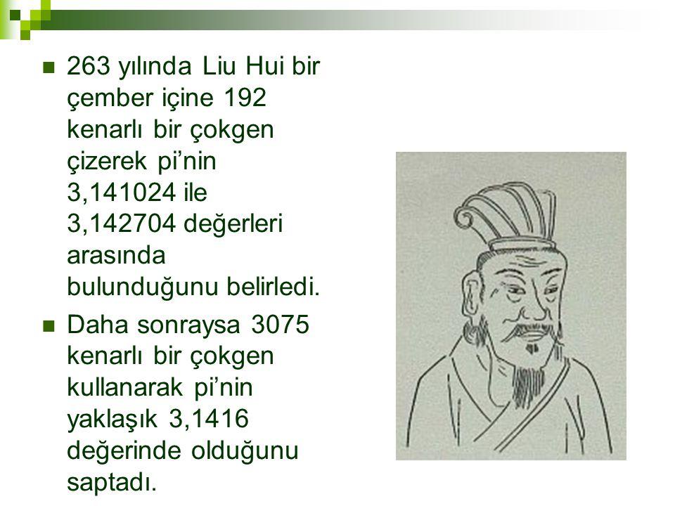 263 yılında Liu Hui bir çember içine 192 kenarlı bir çokgen çizerek pi'nin 3,141024 ile 3,142704 değerleri arasında bulunduğunu belirledi.