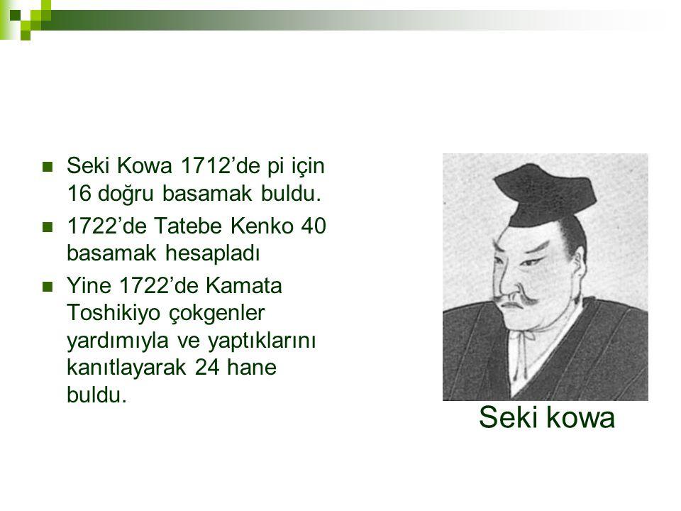 Seki kowa Seki Kowa 1712'de pi için 16 doğru basamak buldu.