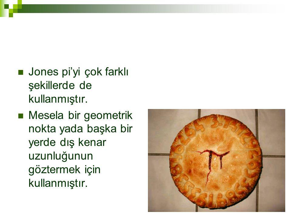 Jones pi'yi çok farklı şekillerde de kullanmıştır.