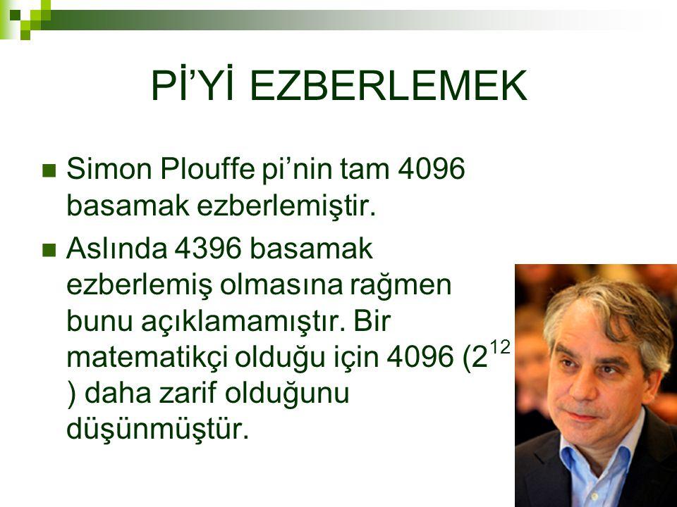 Pİ'Yİ EZBERLEMEK Simon Plouffe pi'nin tam 4096 basamak ezberlemiştir.