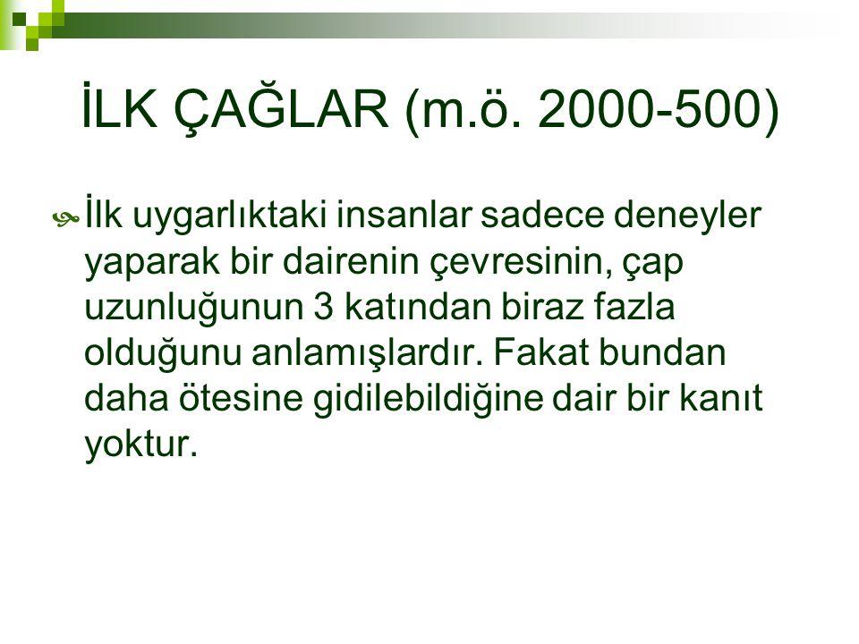 İLK ÇAĞLAR (m.ö. 2000-500)