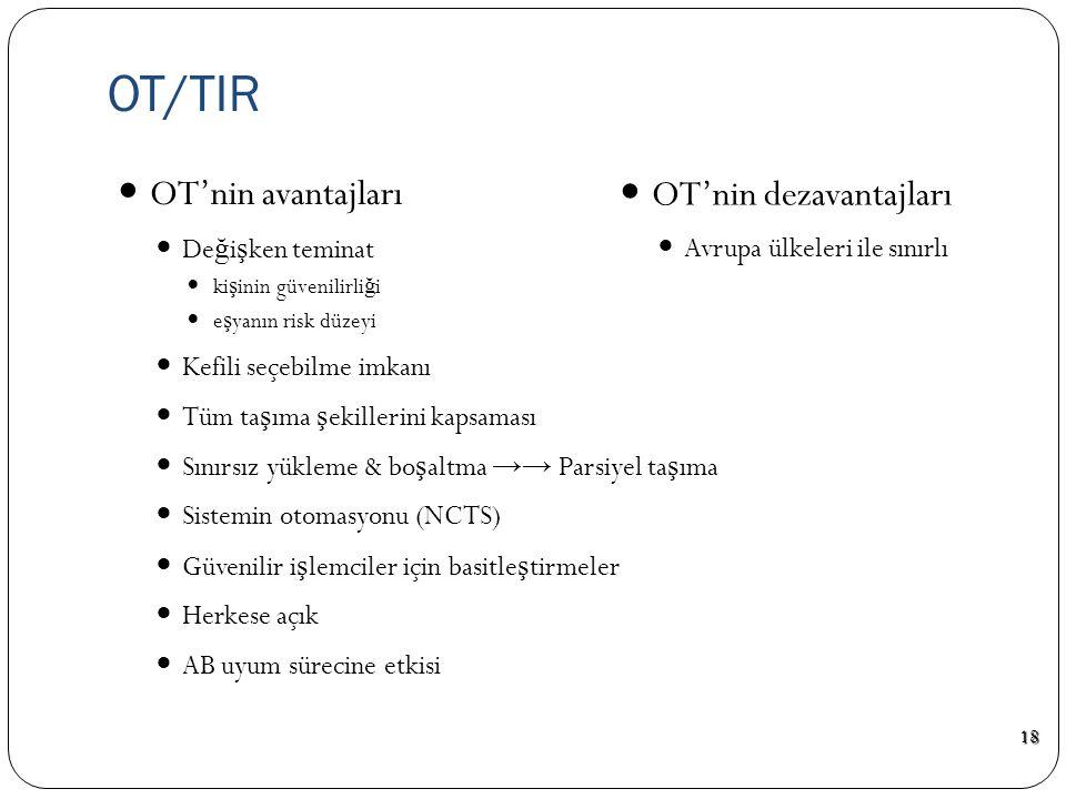 OT/TIR OT'nin avantajları OT'nin dezavantajları Değişken teminat