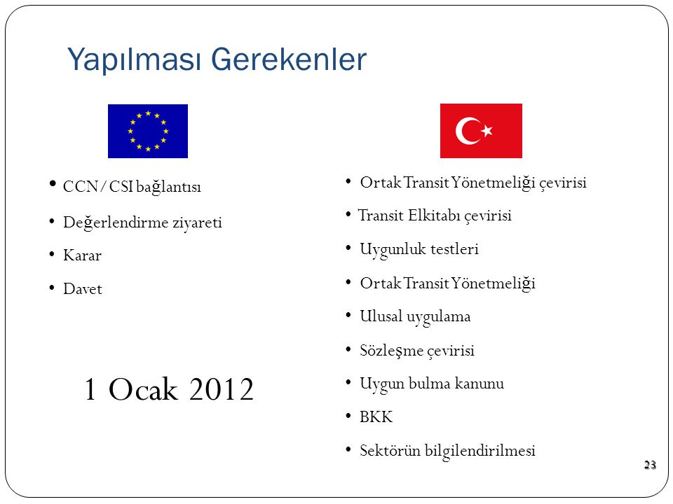 1 Ocak 2012 Yapılması Gerekenler CCN/CSI bağlantısı