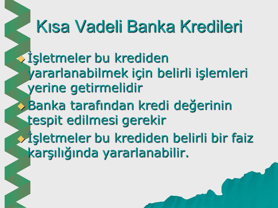 Kısa Vadeli Banka Kredileri