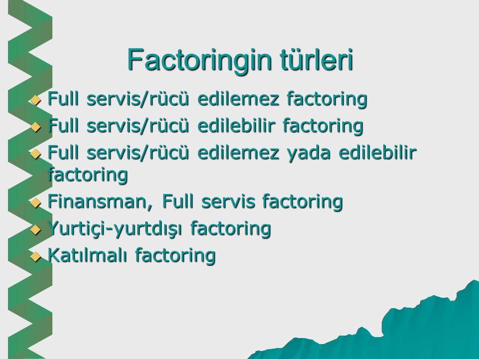Factoringin türleri Full servis/rücü edilemez factoring