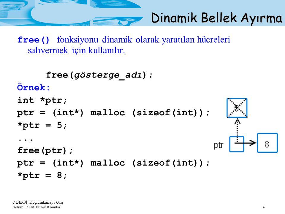 Dinamik Bellek Ayırma free() fonksiyonu dinamik olarak yaratılan hücreleri salıvermek için kullanılır.