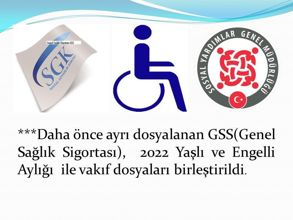 ***Daha önce ayrı dosyalanan GSS(Genel Sağlık Sigortası), 2022 Yaşlı ve Engelli Aylığı ile vakıf dosyaları birleştirildi.