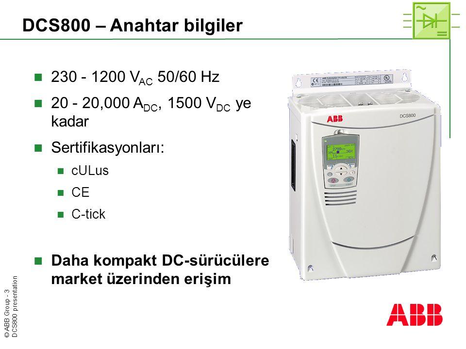 DCS800 – Anahtar bilgiler 230 - 1200 VAC 50/60 Hz