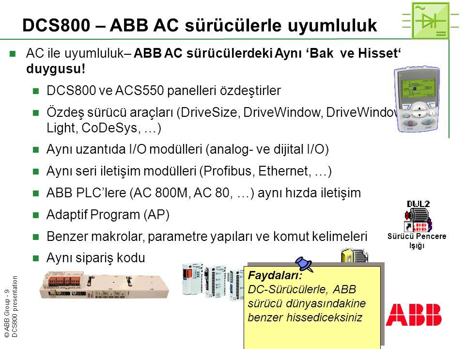 DCS800 – ABB AC sürücülerle uyumluluk