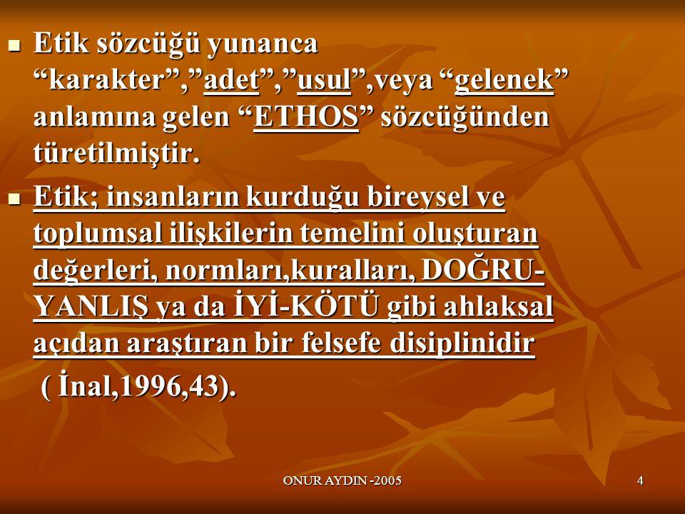 Etik sözcüğü yunanca karakter , adet , usul ,veya gelenek anlamına gelen ETHOS sözcüğünden türetilmiştir.