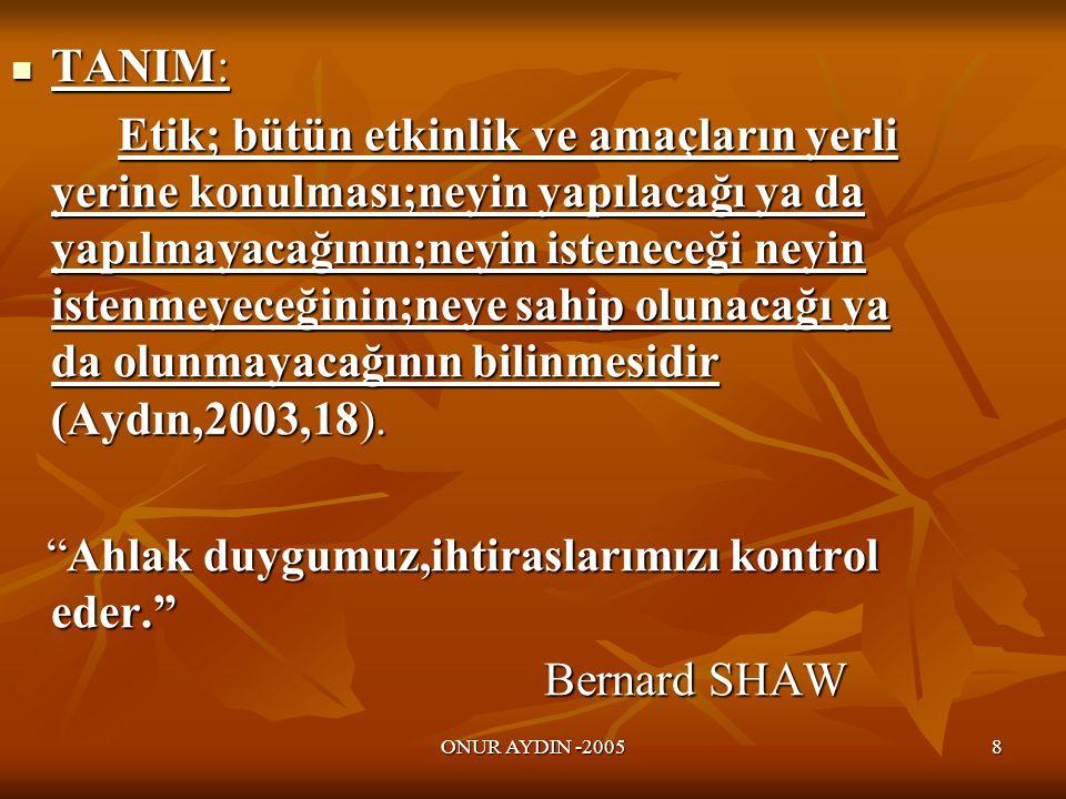 Ahlak duygumuz,ihtiraslarımızı kontrol eder. Bernard SHAW