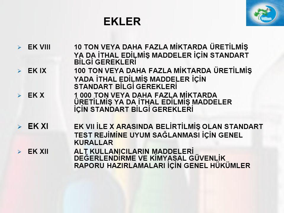 EKLER EK XI EK VII İLE X ARASINDA BELİRTİLMİŞ OLAN STANDART
