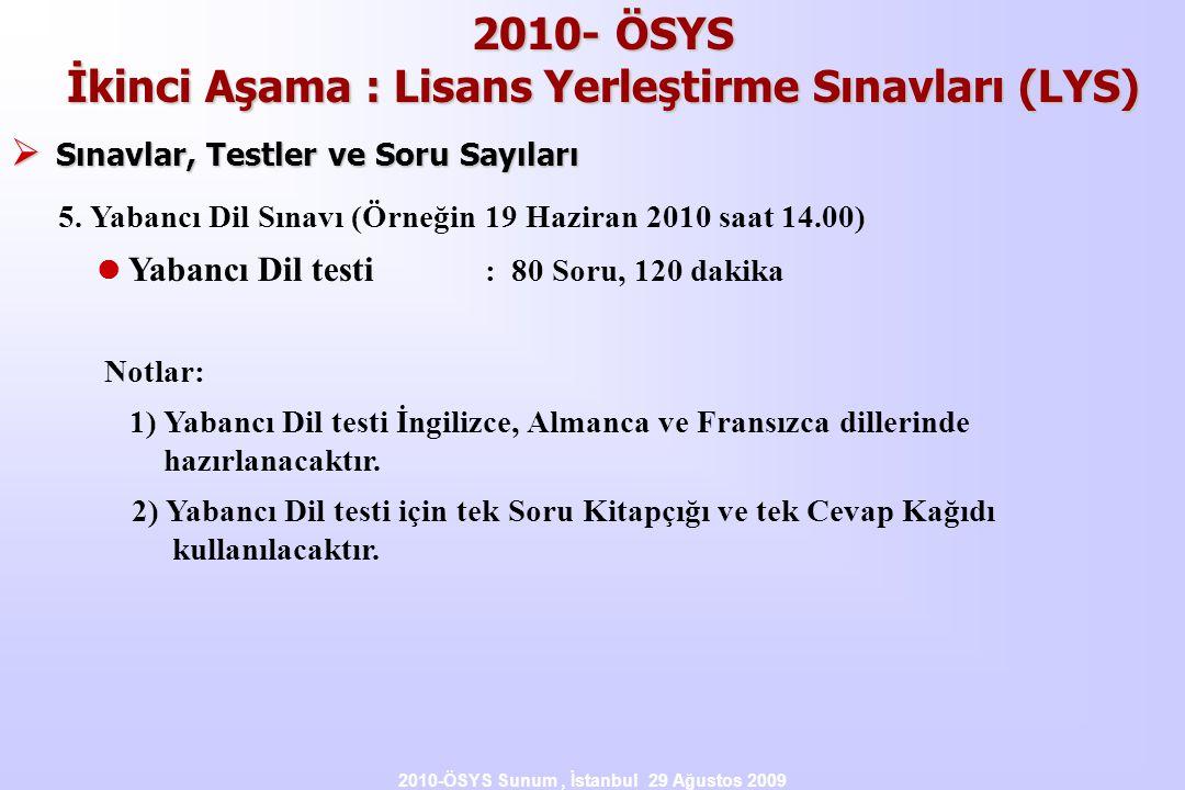 2010- ÖSYS İkinci Aşama : Lisans Yerleştirme Sınavları (LYS)