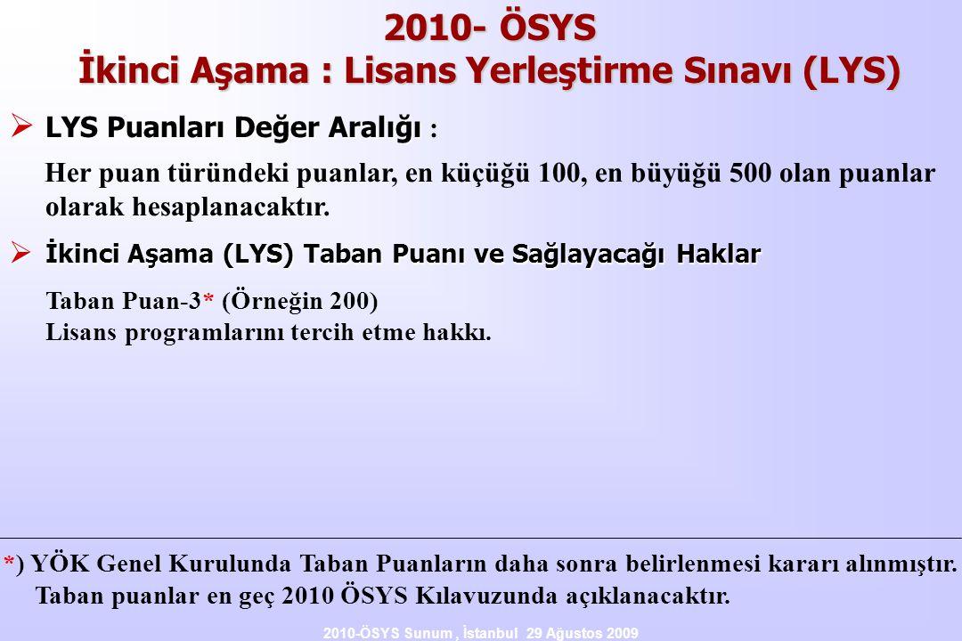 2010- ÖSYS İkinci Aşama : Lisans Yerleştirme Sınavı (LYS)