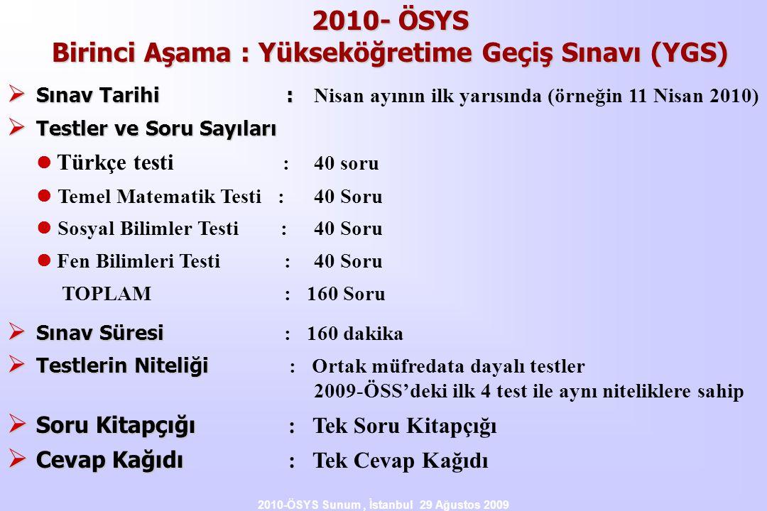 2010- ÖSYS Birinci Aşama : Yükseköğretime Geçiş Sınavı (YGS)