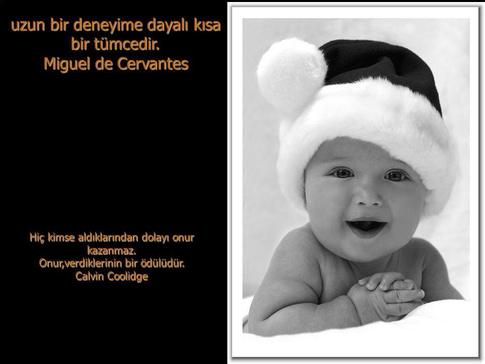uzun bir deneyime dayalı kısa bir tümcedir. Miguel de Cervantes
