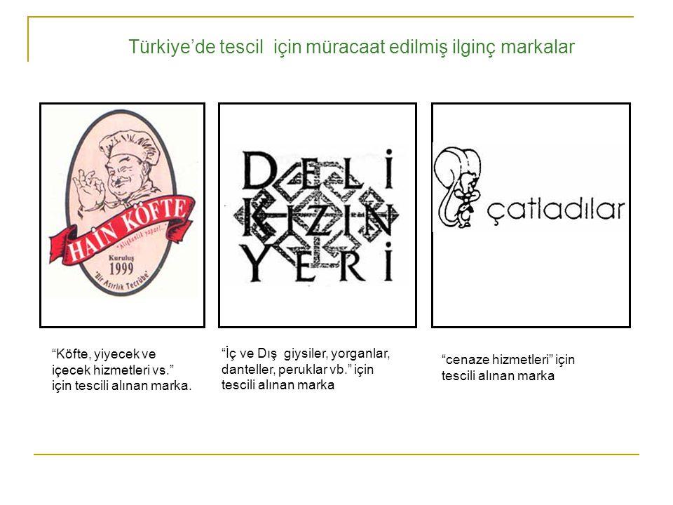 Türkiye'de tescil için müracaat edilmiş ilginç markalar