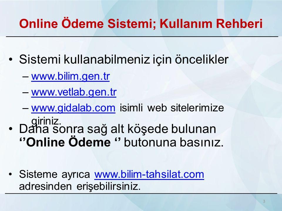 Online Ödeme Sistemi; Kullanım Rehberi
