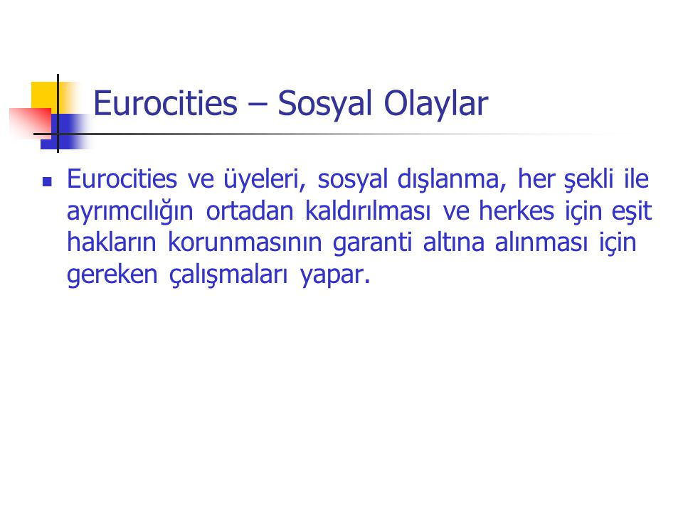 Eurocities – Sosyal Olaylar