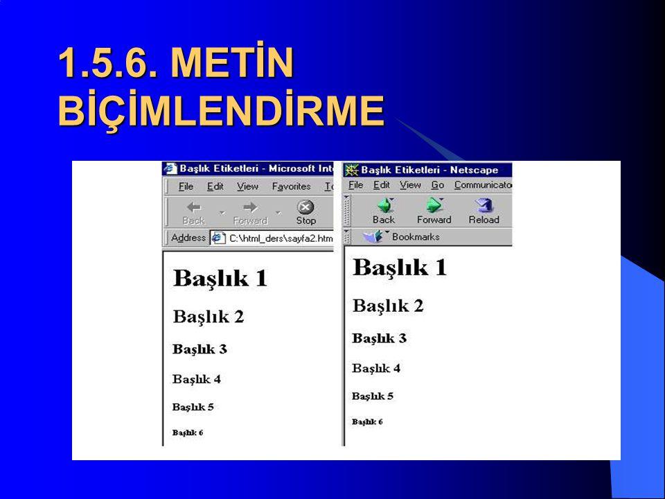 1.5.6. METİN BİÇİMLENDİRME