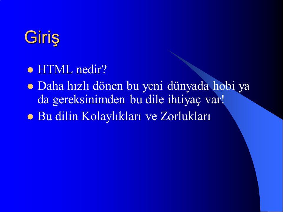 Giriş HTML nedir. Daha hızlı dönen bu yeni dünyada hobi ya da gereksinimden bu dile ihtiyaç var.