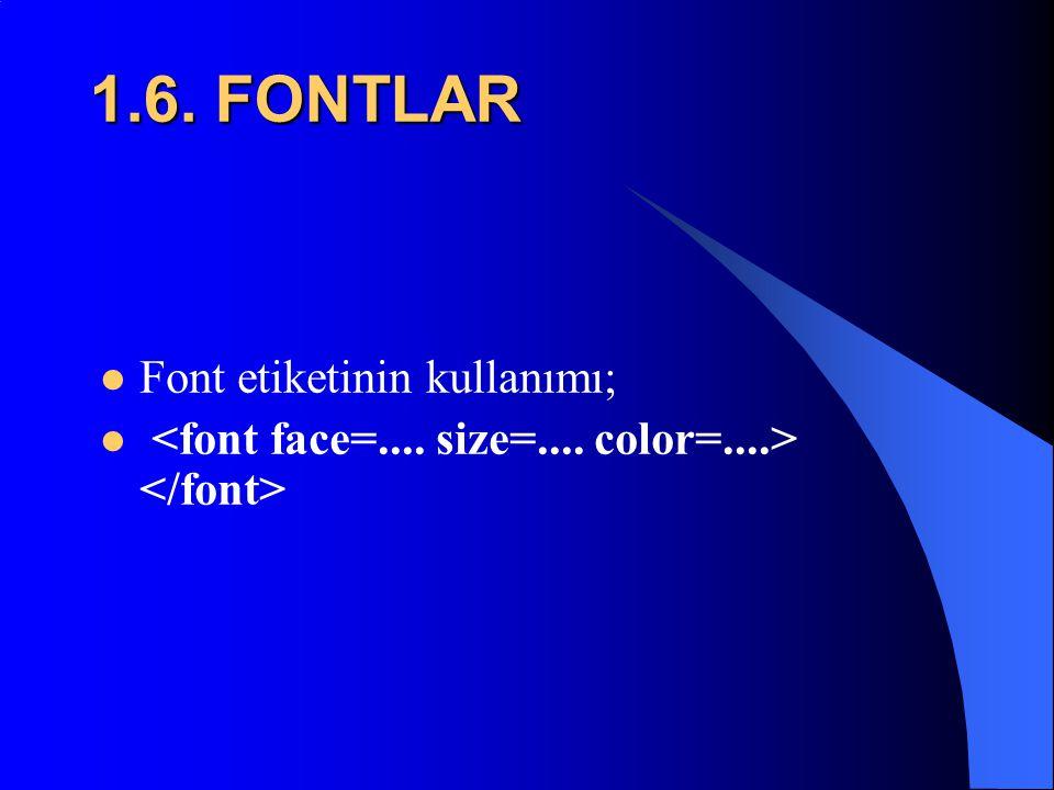1.6. FONTLAR Font etiketinin kullanımı;