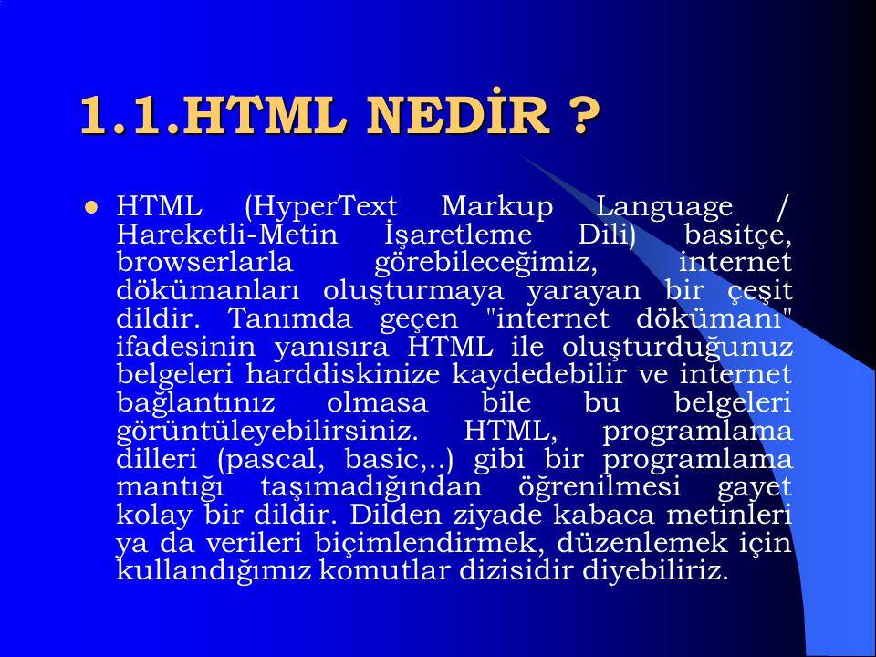 1.1.HTML NEDİR