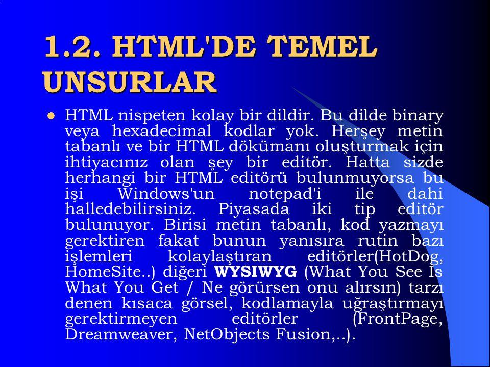 1.2. HTML DE TEMEL UNSURLAR