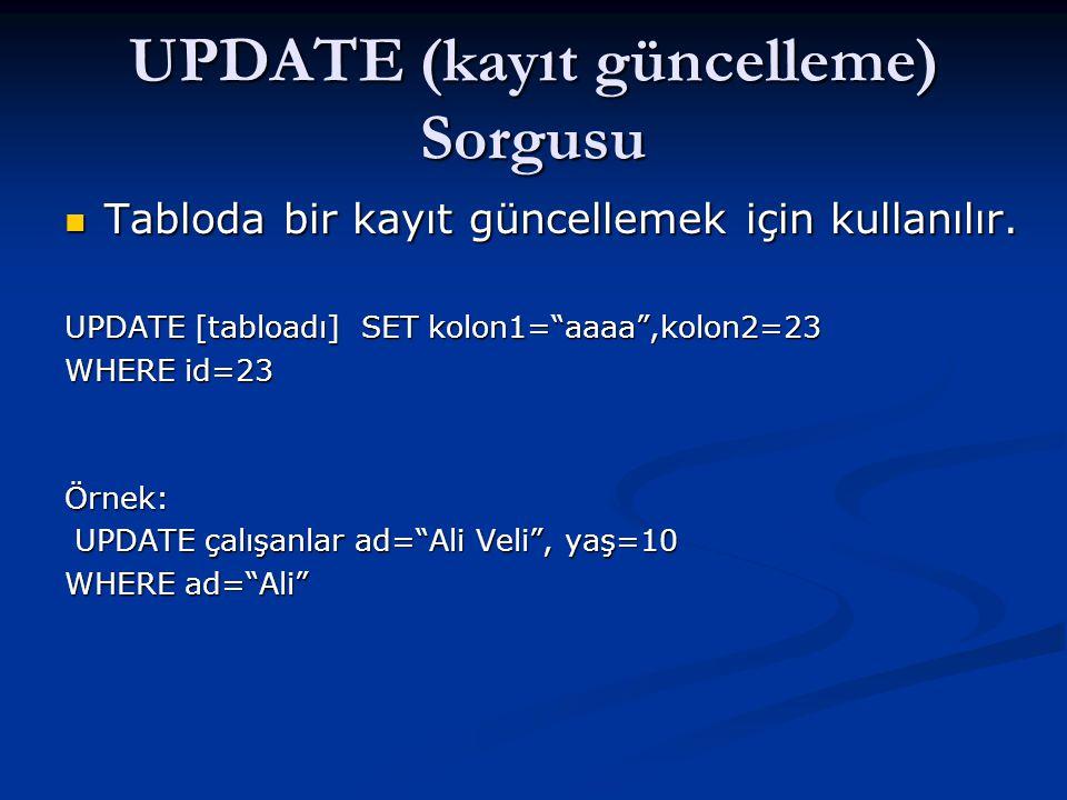 UPDATE (kayıt güncelleme) Sorgusu