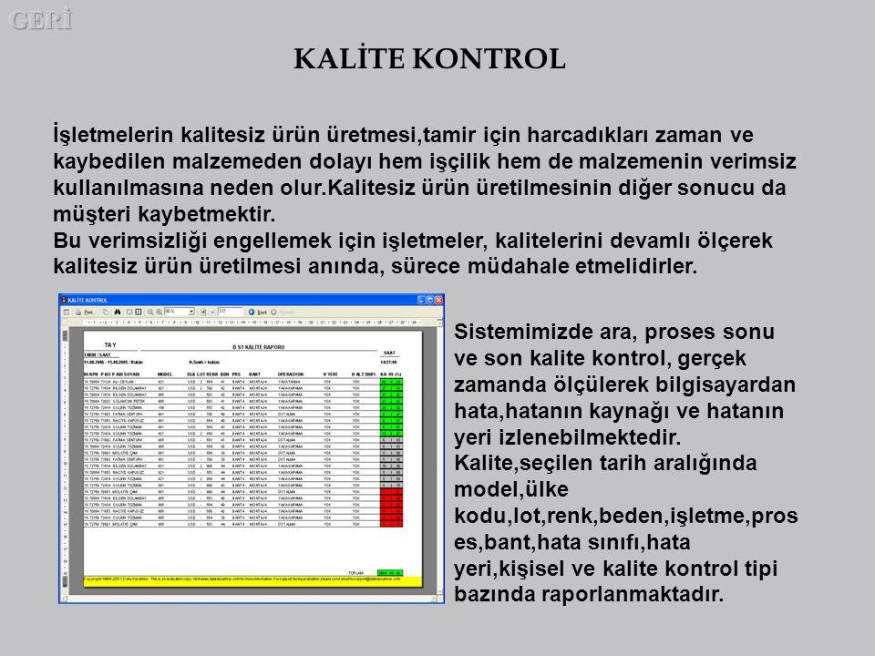 GERİ KALİTE KONTROL.