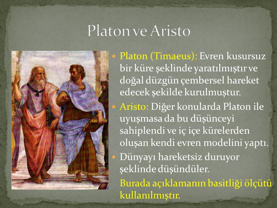 Platon ve Aristo Platon (Timaeus): Evren kusursuz bir küre şeklinde yaratılmıştır ve doğal düzgün çembersel hareket edecek şekilde kurulmuştur.