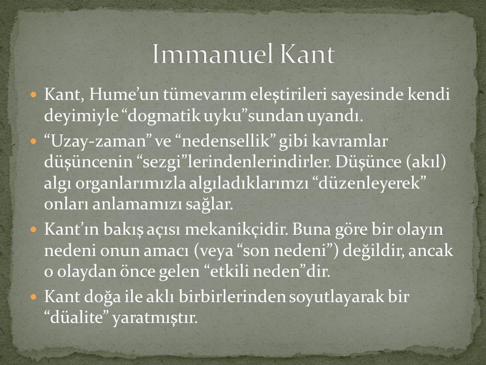 Immanuel Kant Kant, Hume'un tümevarım eleştirileri sayesinde kendi deyimiyle dogmatik uyku sundan uyandı.