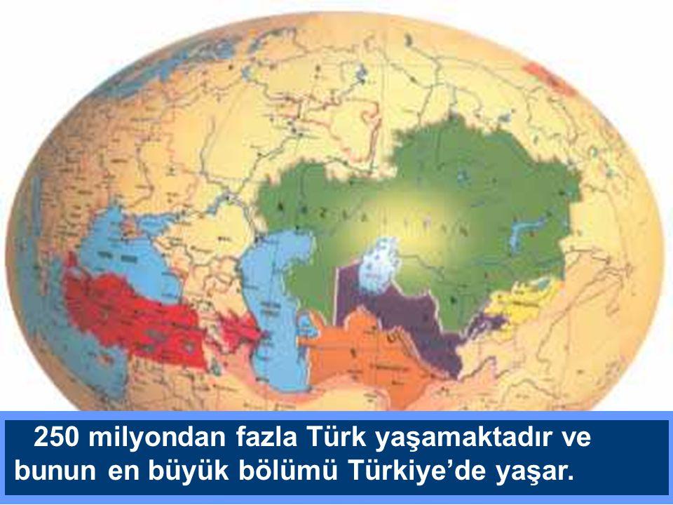 250 milyondan fazla Türk yaşamaktadır ve bunun en büyük bölümü Türkiye'de yaşar.