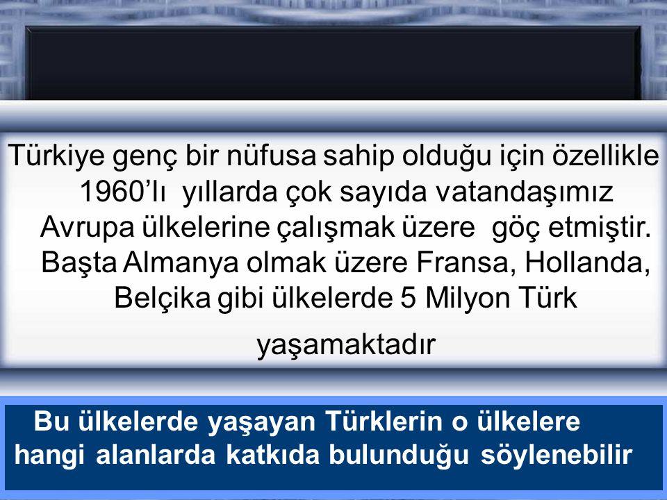 Türkiye genç bir nüfusa sahip olduğu için özellikle 1960'lı yıllarda çok sayıda vatandaşımız Avrupa ülkelerine çalışmak üzere göç etmiştir. Başta Almanya olmak üzere Fransa, Hollanda, Belçika gibi ülkelerde 5 Milyon Türk yaşamaktadır