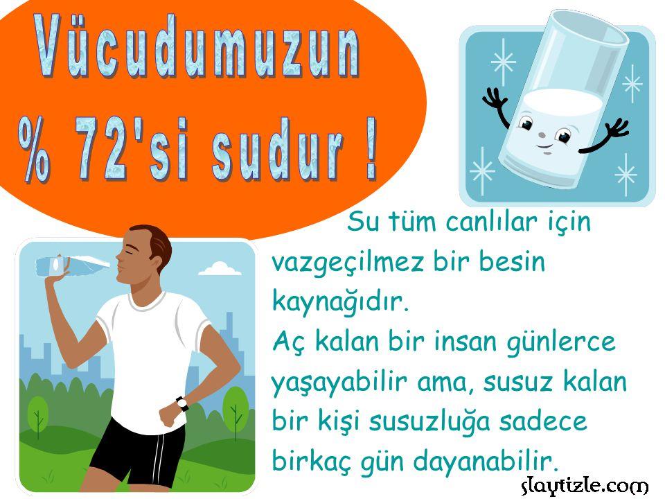 Vücudumuzun % 72 si sudur ! Su tüm canlılar için vazgeçilmez bir besin kaynağıdır.