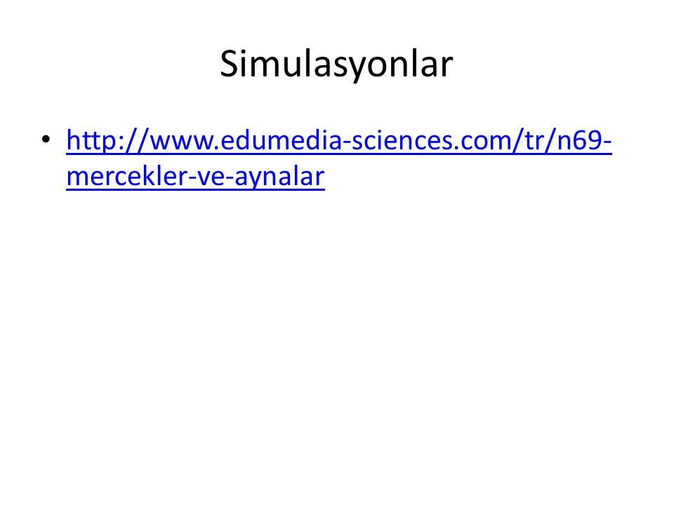Simulasyonlar http://www.edumedia-sciences.com/tr/n69-mercekler-ve-aynalar