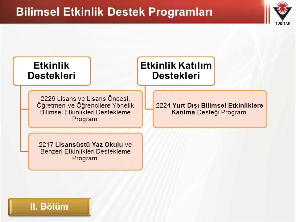 Bilimsel Etkinlik Destek Programları