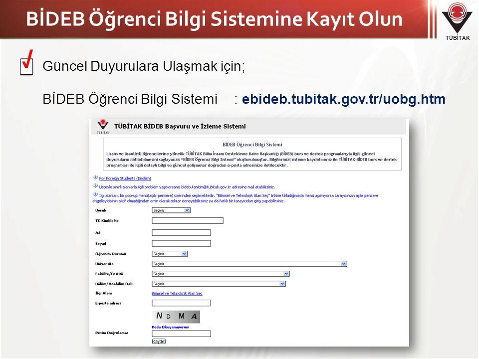 BİDEB Öğrenci Bilgi Sistemine Kayıt Olun