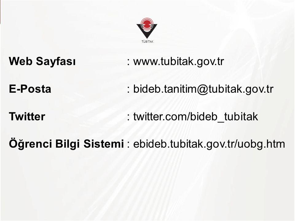 Web Sayfası : www.tubitak.gov.tr
