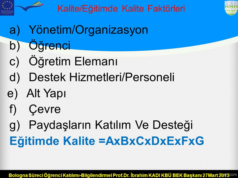 Kalite/Eğitimde Kalite Faktörleri
