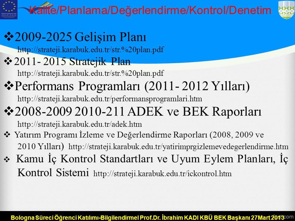 Kalite/Planlama/Değerlendirme/Kontrol/Denetim