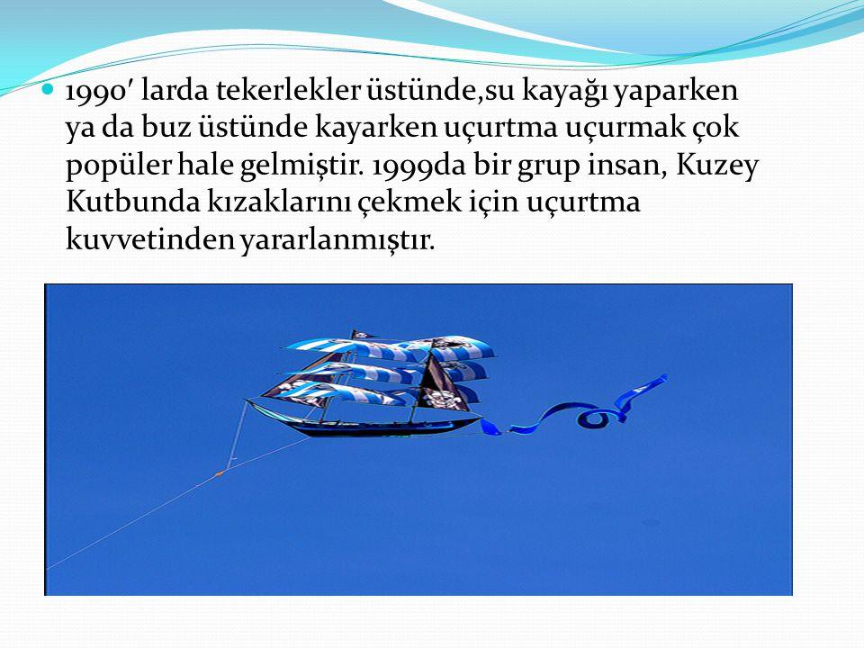 1990′ larda tekerlekler üstünde,su kayağı yaparken ya da buz üstünde kayarken uçurtma uçurmak çok popüler hale gelmiştir.