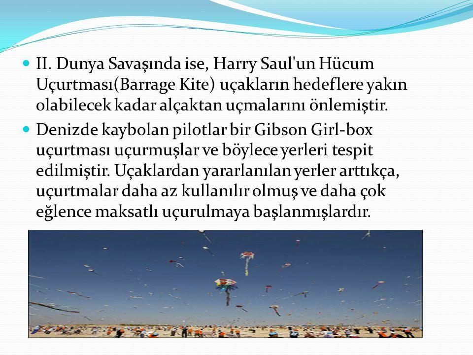 II. Dunya Savaşında ise, Harry Saul un Hücum Uçurtması(Barrage Kite) uçakların hedeflere yakın olabilecek kadar alçaktan uçmalarını önlemiştir.