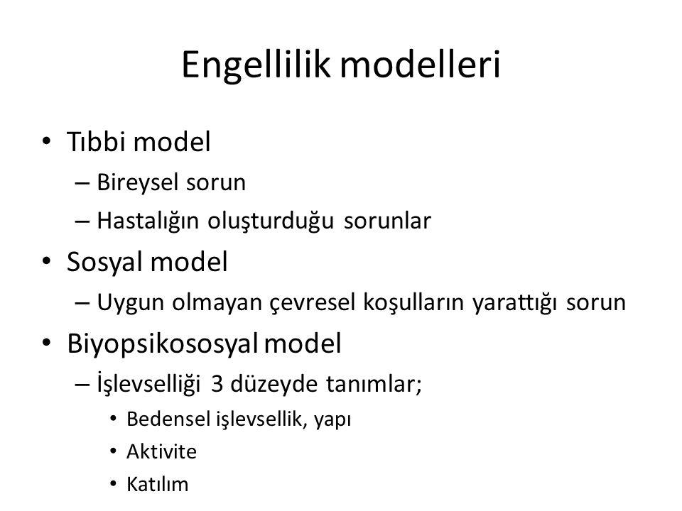Engellilik modelleri Tıbbi model Sosyal model Biyopsikososyal model