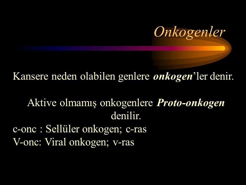 Aktive olmamış onkogenlere Proto-onkogen denilir.