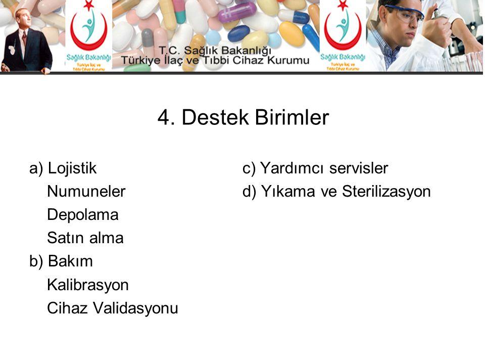 4. Destek Birimler a) Lojistik c) Yardımcı servisler Numuneler