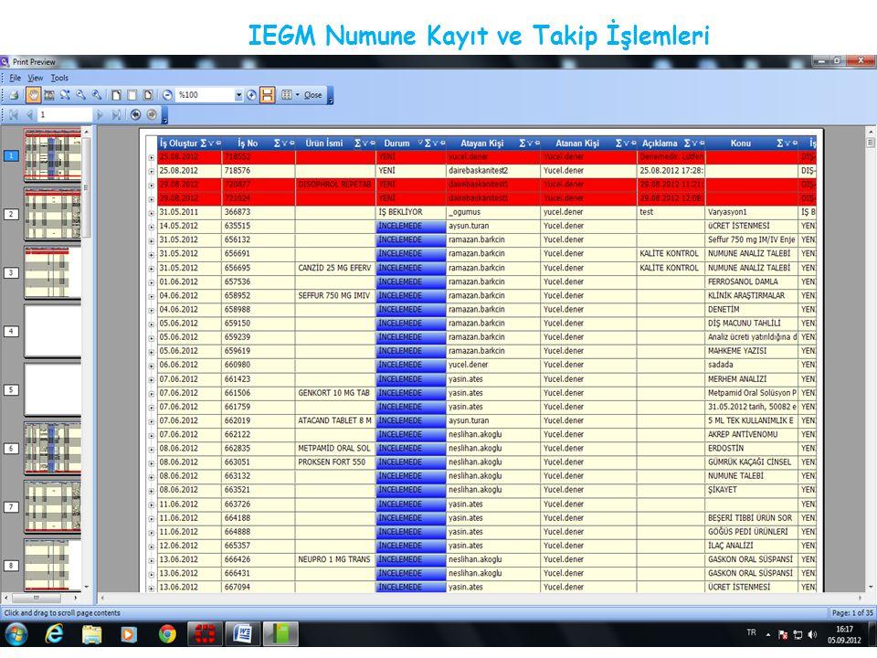 IEGM Numune Kayıt ve Takip İşlemleri