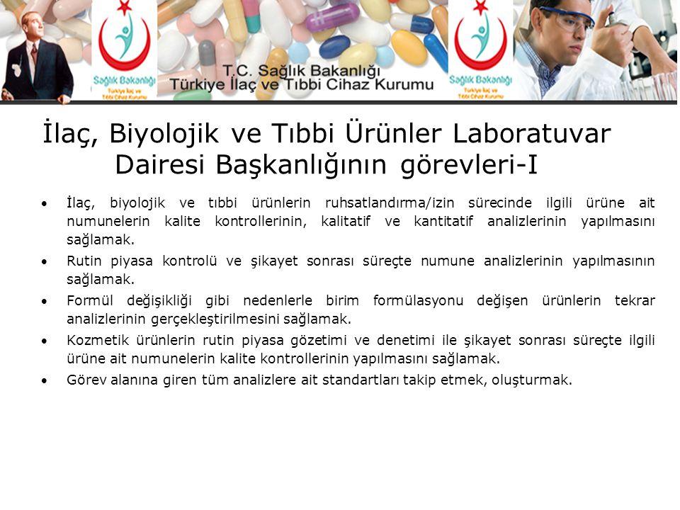 İlaç, Biyolojik ve Tıbbi Ürünler Laboratuvar Dairesi Başkanlığının görevleri-I