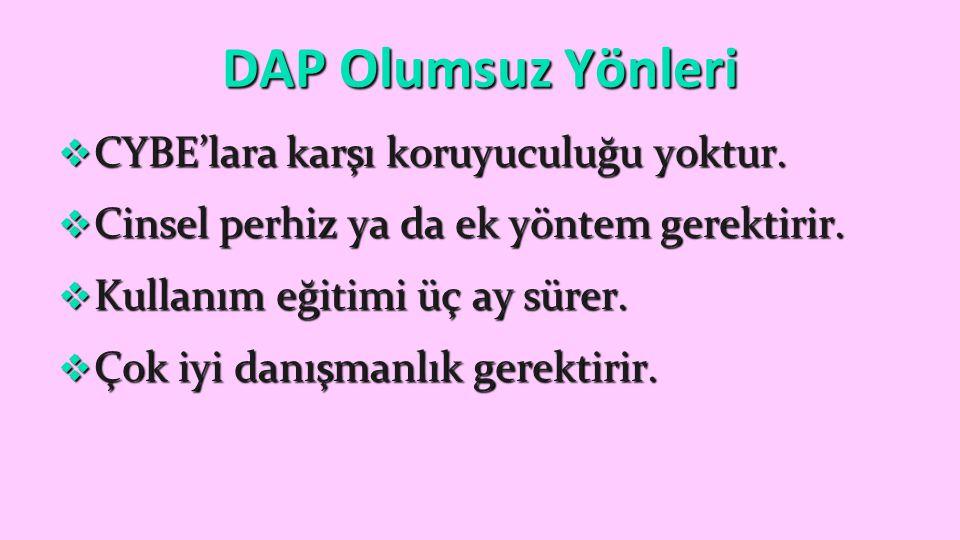 DAP Olumsuz Yönleri CYBE'lara karşı koruyuculuğu yoktur.