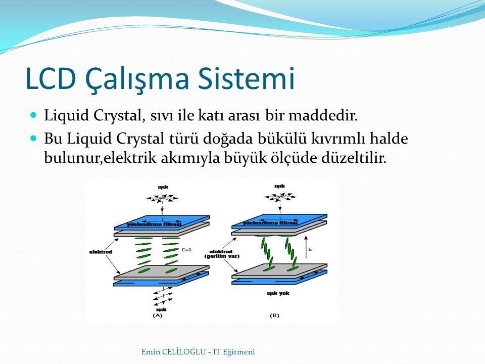 LCD Çalışma Sistemi Liquid Crystal, sıvı ile katı arası bir maddedir.